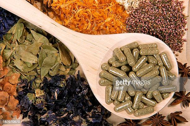 Herbal Medicine Diet Including Meadowsweet Capsules Which Are Used To Combat Cellulite