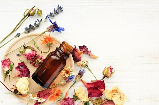 Herbal pharmacy.Botanical cosmetic ingredients, aromatherapy background. 625397482