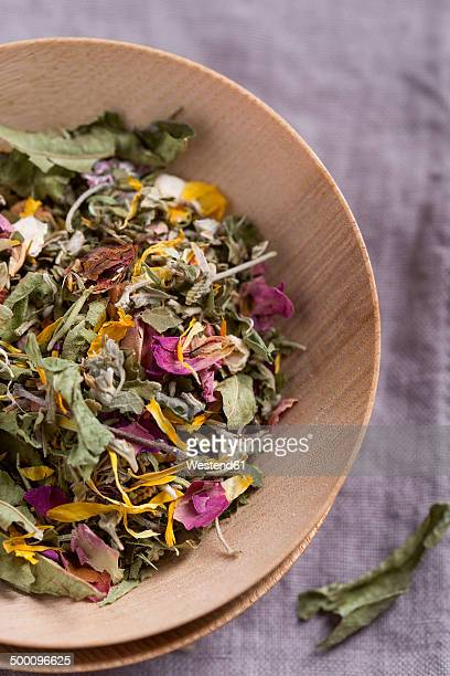 herbal tea in a bowl - chamomile tea stock photos and pictures