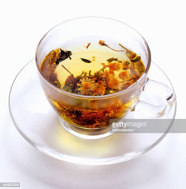 Herbal Tea with Fresh Herbs and Blossoms