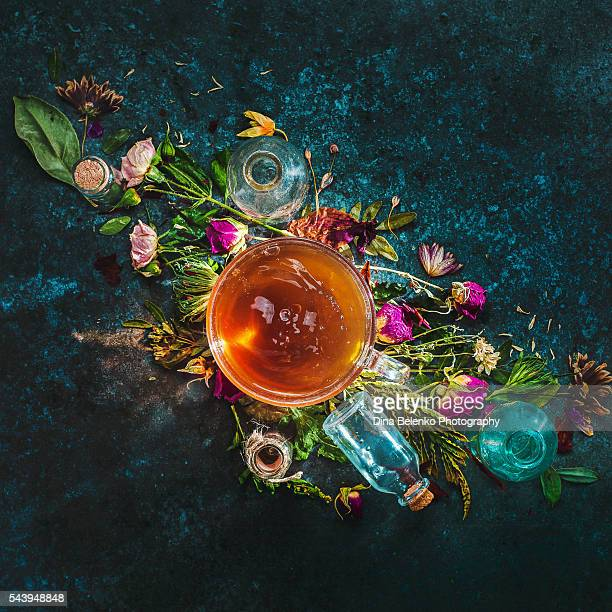 herbal tea with potions - potion stock photos and pictures