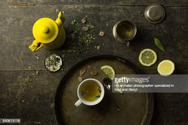 herbal tisane infusion on rustic background