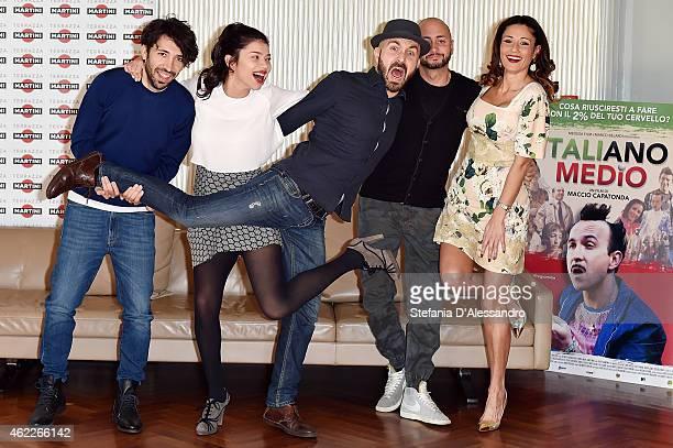 Herbert Ballerina, Lavinia Longhi, Maccio Capatonda, Ivo Avido and Barbara Tabita attend Italiano Medio Photocall on January 26, 2015 in Milan, Italy.