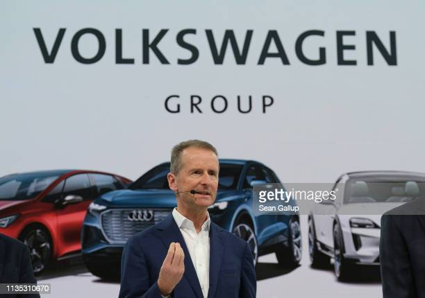 Herbert Diess CEO of German automaker Volkswagen AG speaks at the company's annual press conference at Volkswagen headquarters on March 12 2019 in...
