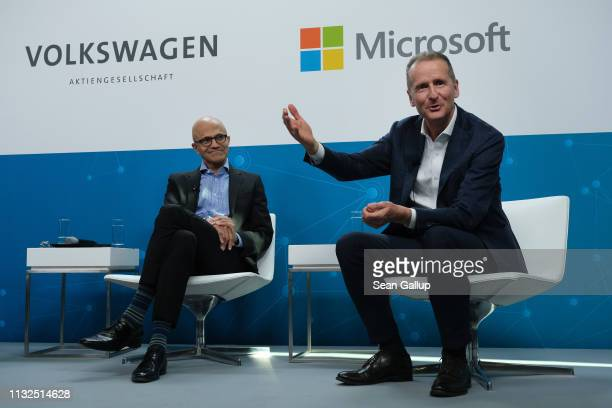 """Herbert Diess , CEO of Volkswagen AG, and Satya Nadella, CEO of Microsoft, speak at a """"fireside chat"""" to the media about a joint project between the..."""