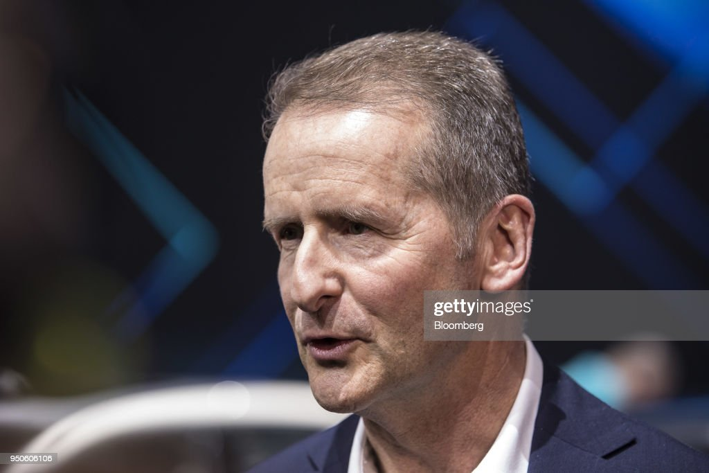 Herbert Diess, chief executive officer of Volkswagen AG (VW), speaks at a media event ahead of the Beijing International Automotive Exhibition, in Beijing, China, on Tuesday, April 24, 2018. The company will invest in electric cars, autonomous driving and mobility services in China, VWs China-division head Jochem Heizmann said at the event. Photographer: Qilai Shen/Bloomberg via Getty Images