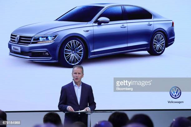 Herbert Diess head of the Volkswagen AG brand speaks during a news conference at the automaker's headquarters in Wolfsburg Germany on Friday May 5...