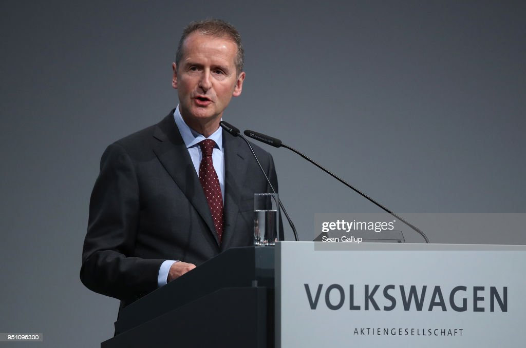 Herbert Diess, the newly-appointed chairman of German car manufacturer Volkswagen AG, speaks at the company's annual general shareholders' meeting on May 3, 2018 in Berlin, Germany. Diess announced ambitious goals for the company that include the annual production of three million electric cars spread across 50 models by 2025.