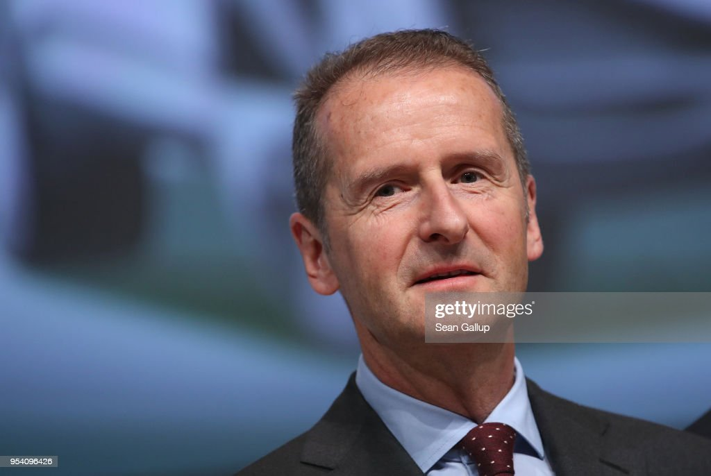Herbert Diess, the newly-appointed chairman of German car manufacturer Volkswagen AG, arrives to speak at the company's annual general shareholders' meeting on May 3, 2018 in Berlin, Germany. Diess announced ambitious goals for the company that include the annual production of three million electric cars spread across 50 models by 2025.