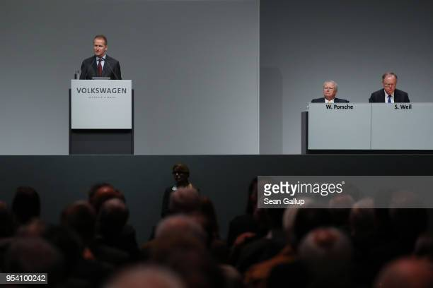 Herbert Diess , the newly-appointed chairman of German car manufacturer Volkswagen AG, speaks at the company's annual general shareholders' meeting...