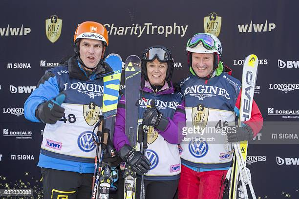 Herbert Dress Sigrid Wolf and Matthias Lanzinger pose for a picture during the KitzCharityTrophy on January 21 2017 in Kitzbuehel Austria