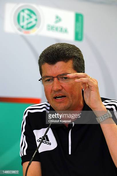 Herbert Fandel chairman of the German referee committee attends the press conference of the DFB referee meeting at Dekra Headquarter on July 14 2012...