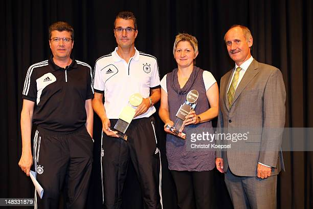 Herbert Fandel chairman of the German referee committee referee Knut Kircher and referee Christine Baitinger who had been voted as the referees of...