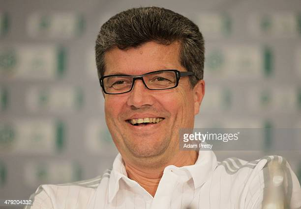 Herbert Fandel Head of the Commission of Bundesliga Referees smiles during the Annual Referee Course press conference on July 2 2015 in Grassau...