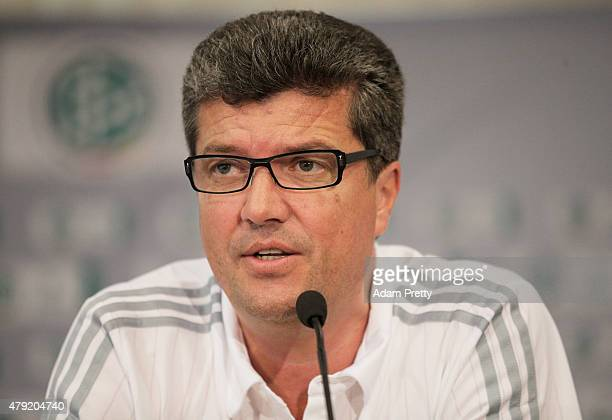 Herbert Fandel Head of the Commission of Bundesliga referees speaks to the media during the Annual Referee Course press conference on July 2 2015 in...