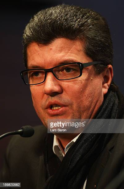 Herbert Fandel head of the DFB referee commission looks on during a press conference after the DFB and Bundesliga head coaches meeting at the Hyatt...