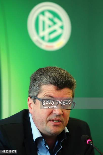 Herbert Fandel head of the DFB referee commission talks during a press conference of the German FIFA 2014 World Cup referees at DFB headquarters on...