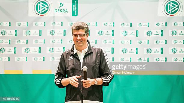 Herbert Fandel holds a speech during the Referee Of The Year Awarding Ceremony at Favorite Parkhotel on October 6 2015 in Mainz Germany