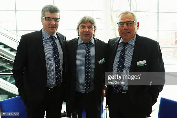 Herbert Fandel Ronny Zimmermann and Karl Rothmund pose during the extraordinary DFB Bundestag at Congress Center Messe Frankfurt on April 15 2016 in...