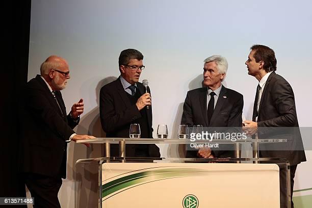 Herbert Fandel speaks during Club 100 Fair Ist Mehr Awarding Ceremony at Curio Haus on October 8 2016 in Hamburg Germany