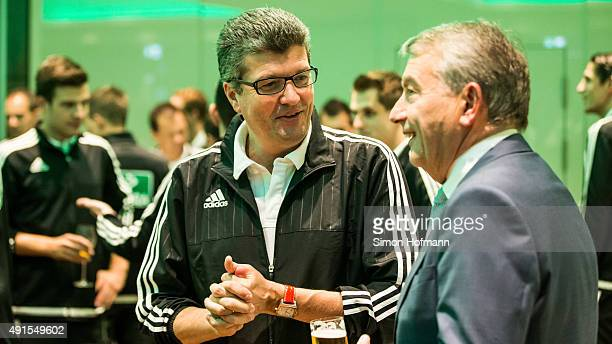 Herbert Fandel talks to DFB President Wolfgang Niersbach during the Referee Of The Year Awarding Ceremony at Favorite Parkhotel on October 6 2015 in...
