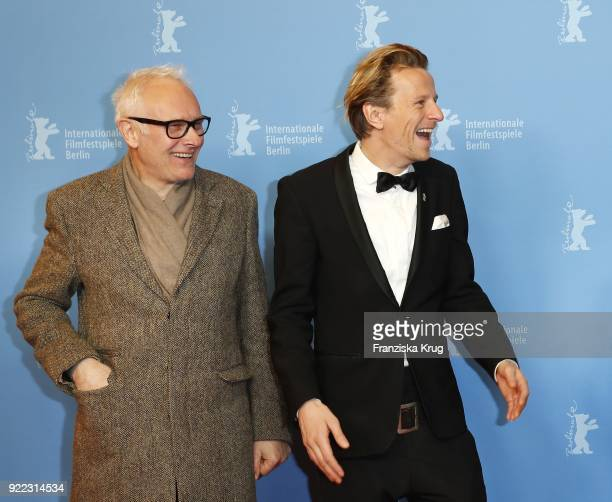 Herbert Fritsch and Alexander Scheer attend the 'Partisan' premiere during the 68th Berlinale International Film Festival Berlin at Kino...