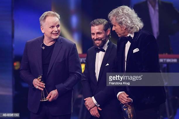 Herbert Groenemeyer Klaas HeuferUmlauf and Thomas Gottschalk attend the Goldene Kamera 2015 show on February 27 2015 in Hamburg Germany