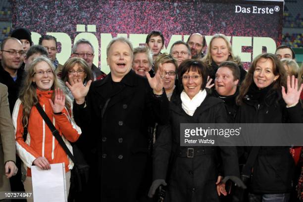 Herbert Groenemeyer poses with fans during the press conference for his 2011 tour at the EspritArena on December 07 2010 in Duesseldorf Germany