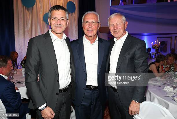 Herbert Hainer CEO Adidas AG Franz Beckenbauer and Hans Dieter Cleven during the Kaiser Cup 2016 gala on July 16 2016 in Bad Griesbach near Passau...