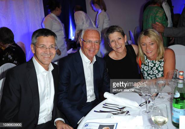 Herbert Hainer CEO of Adidas AG football legend Franz Beckenbauer Angelika Hainer and Heidrun Beckenbauer at the gala that is being held as part of...