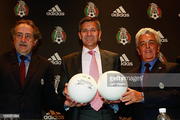 Herbert Hainer, CEO of Adidas , and Justino Compean, president of FEMEXFUT, during a press conference to announce the continuity of their contract...
