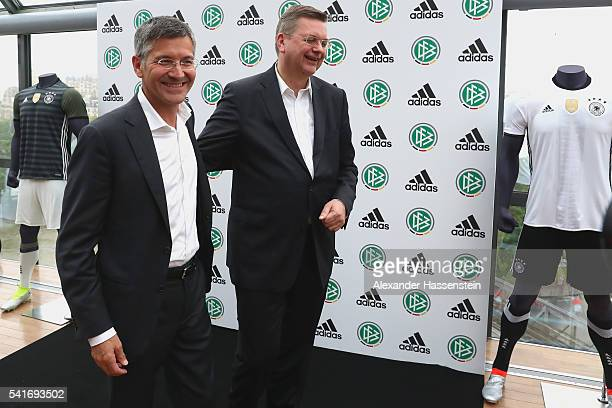 Herbert Hainer CEO of adidas group attends with Reinhard Grindel president of Deutscher Fussball Bund DFB during a DFB and adidas press conference at...