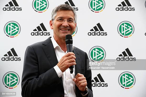 Herbert Hainer CEO of adidas group speaks during a DFB and adidas press conference at Espace CAP15 on June 20 2016 in Paris France