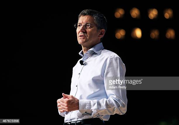 Herbert Hainer CEO of adidas Group speaks to investors on March 26 2015 in Herzogenaurach Germany