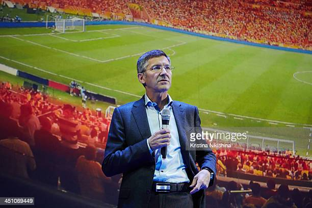 Herbert Hainer CEO of the adidas Group attends Russia National Team World Cup presentation at Barvikha Concert Hall on November 21 2013 in Moscow...