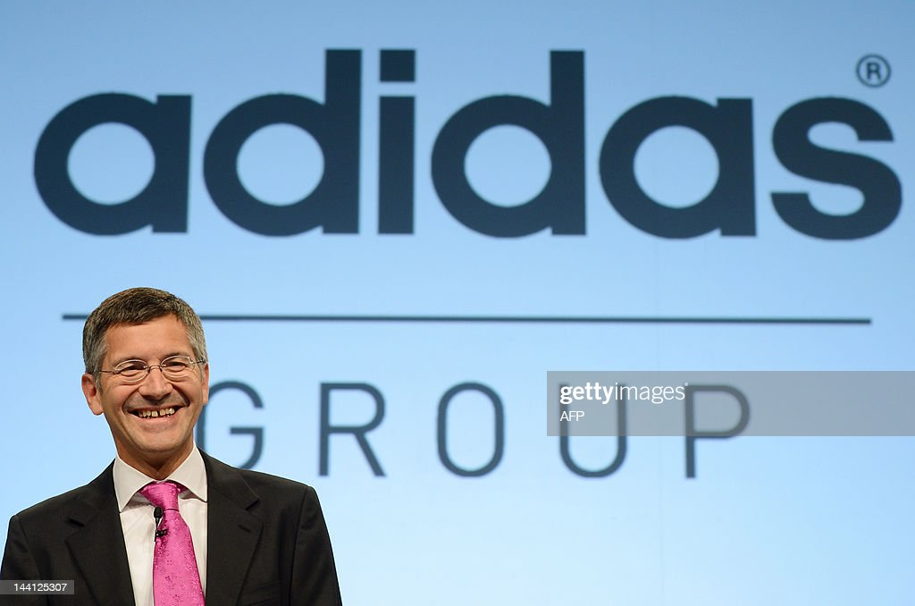 Herbert Hainer, CEO of the German sportswear company Adidas, waits