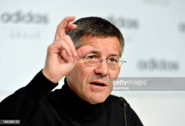 Herbert Hainer chief executive officer of Adidas AG gestures as he speaks during the company's earnings news conference in Herzogenaurach Germany on...
