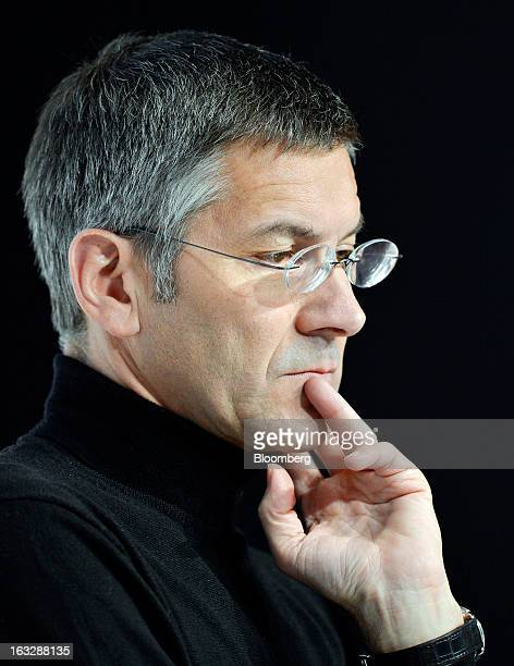 Herbert Hainer chief executive officer of Adidas AG pauses during the company's earnings news conference in Herzogenaurach Germany on Thursday March...