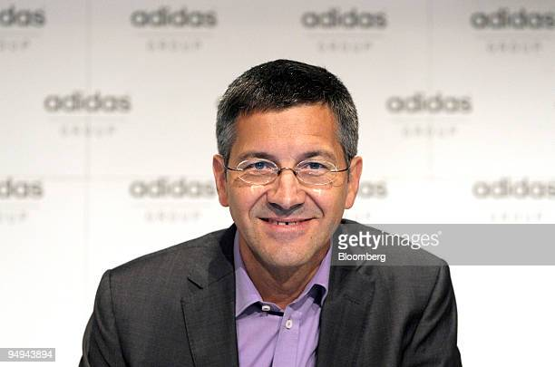 Herbert Hainer chief executive officer of Adidas AG pauses during the presentation of the company's 2008 results at a news conference in...