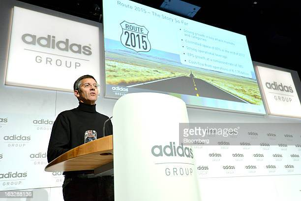 Herbert Hainer chief executive officer of Adidas AG speaks during the company's earnings news conference in Herzogenaurach Germany on Thursday March...
