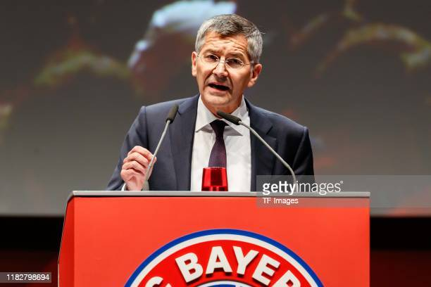 Herbert Hainer of FC Bayern Muenchen gestures during the annual general meeting of FC Bayern Muenchen at Olympiahalle on November 15 2019 in Munich...