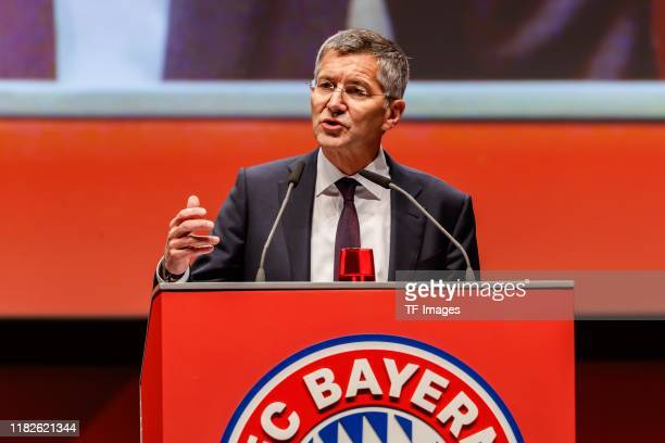 Herbert Hainer of FC Bayern Muenchen looks on during the annual general meeting of FC Bayern Muenchen at Olympiahalle on November 15 2019 in Munich...