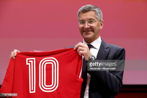 Herbert Hainer President of FC Bayern Muenchen looks on after the annual general meeting of FC Bayern Muenchen at Olympiahalle on November 15 2019 in...