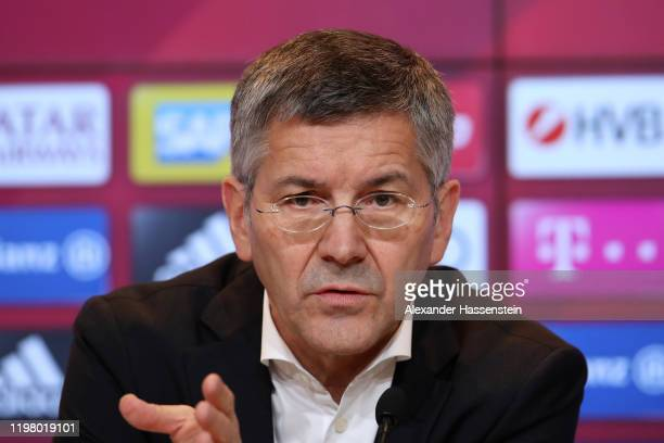 Herbert Hainer president of FC Bayern Muenchen speaks to the media during a press conference at Allianz Arena on January 07 2020 in Munich Germany