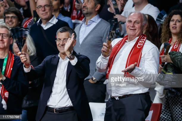 Herbert Hainer Uli Hoeness gestures during the 2019/2020 Turkish Airlines EuroLeague Regular Season Round 3 match between FC Bayern Munich and LDLC...