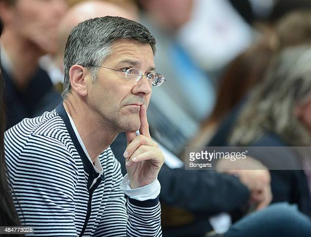 Herbert Hainer watches the match between Brose Baskets Bamberg and FC Bayern Muenchen at Stechert Arena on April 13 2014 in Bamberg Germany