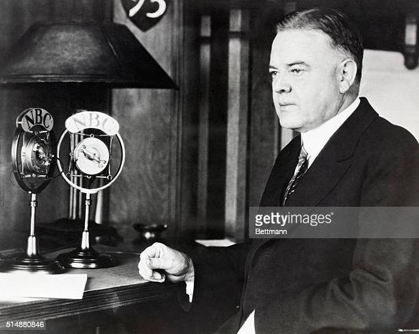 Herbert Hoover addressing the electorate via early radio transmission Photograph 1928