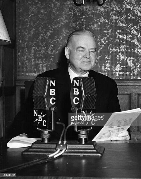 Herbert Hoover the 31st American President broadcasting his views on the Embargo Legislation