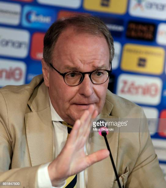 Herbert Hubel FIFA chairman of the monitoring committee for the Greek Football Association speaks at a press conference on March 14 2018 in Athens...