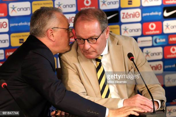 Herbert Hubel FIFA chairman of the monitoring committee for the Greek Football Association attends a press conference on March 14 2018 in Athens...